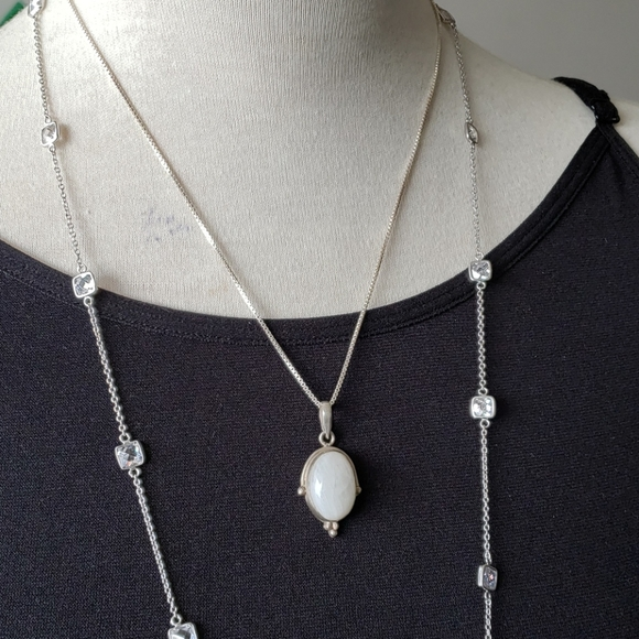 Sterling silver clear quartz handmade with chain